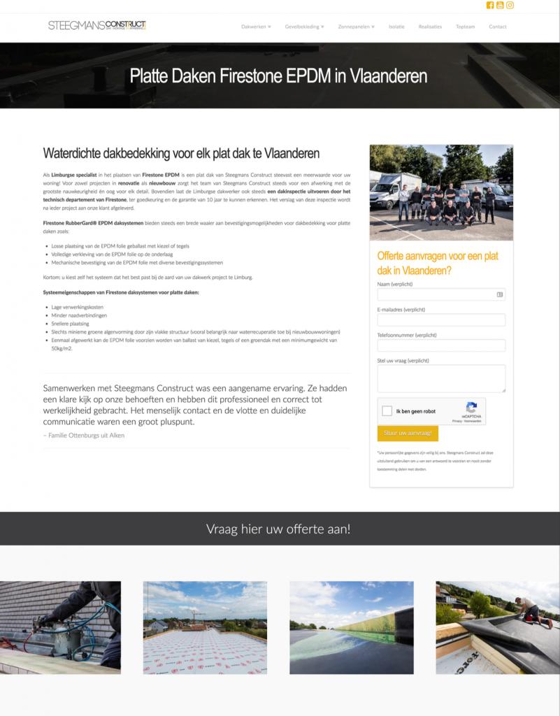Landingspagina Dakwerker Limburg Steegmans Construct