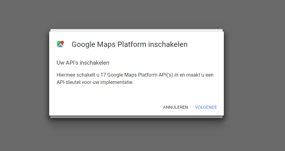 Google Maps API's inschakelen