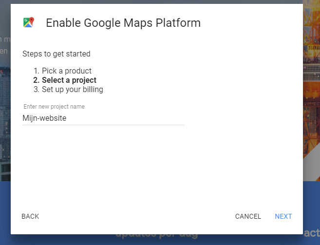 Google Maps platform enable