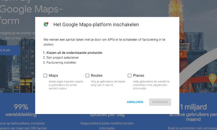 Google Maps API's kiezen