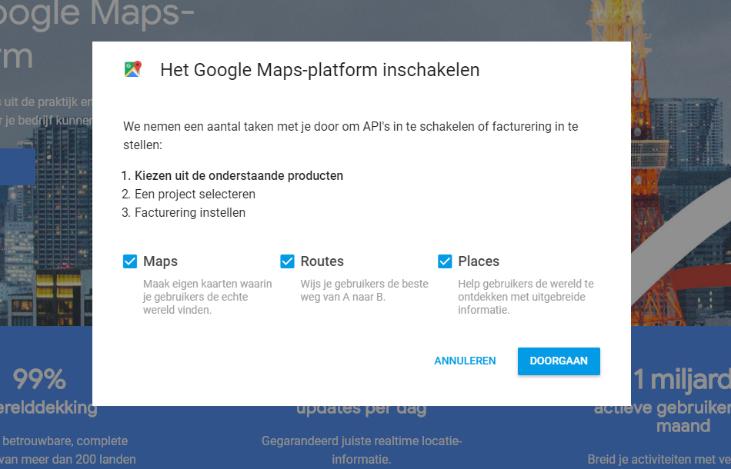 Google Maps producten selecteren