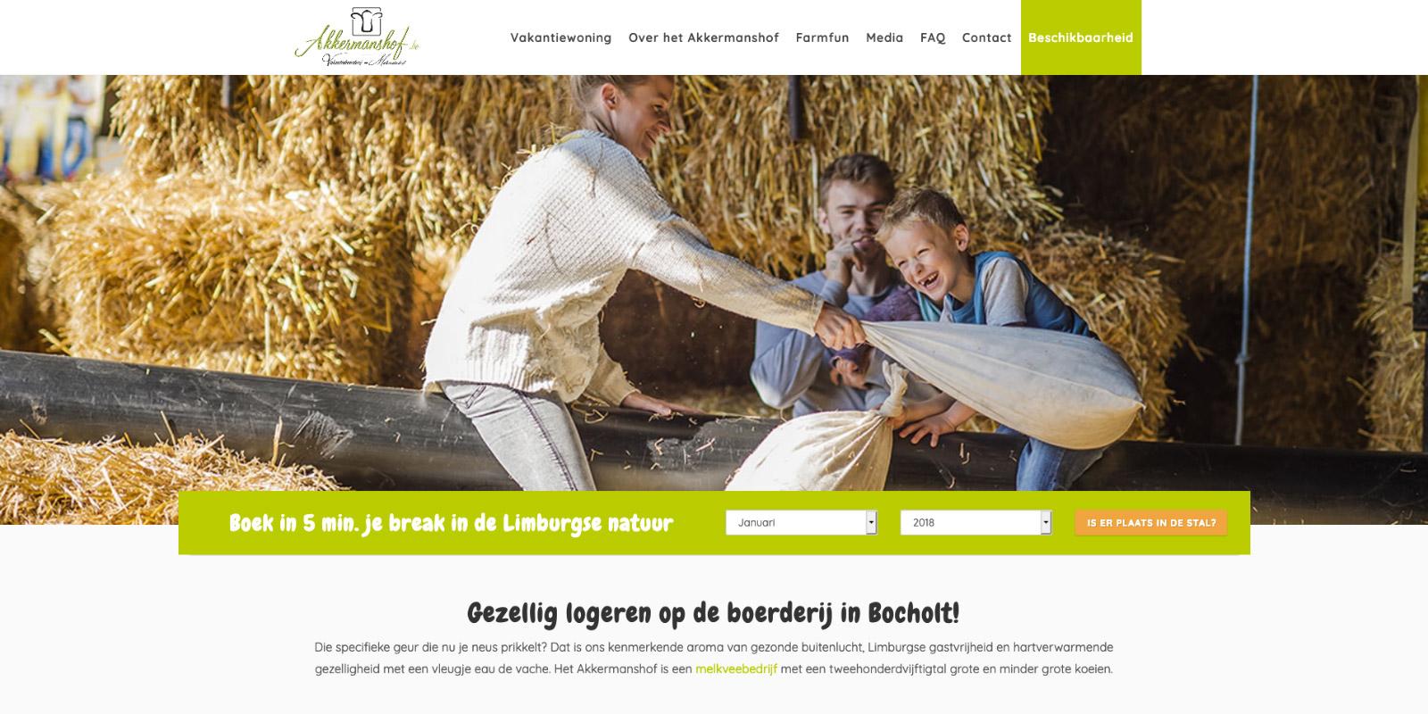 Website voor vakantieboerderij Akkermanshof