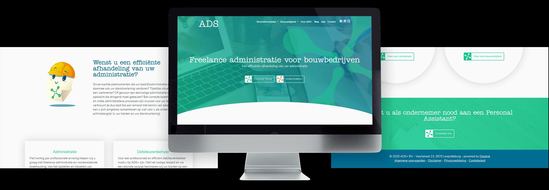 Frisse website voor freelance administratiekantoor voor bouwbedrijven