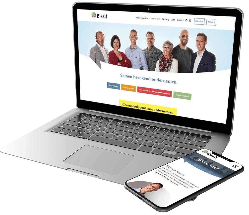 Website voor innovatief accountantskantoor Bizzit