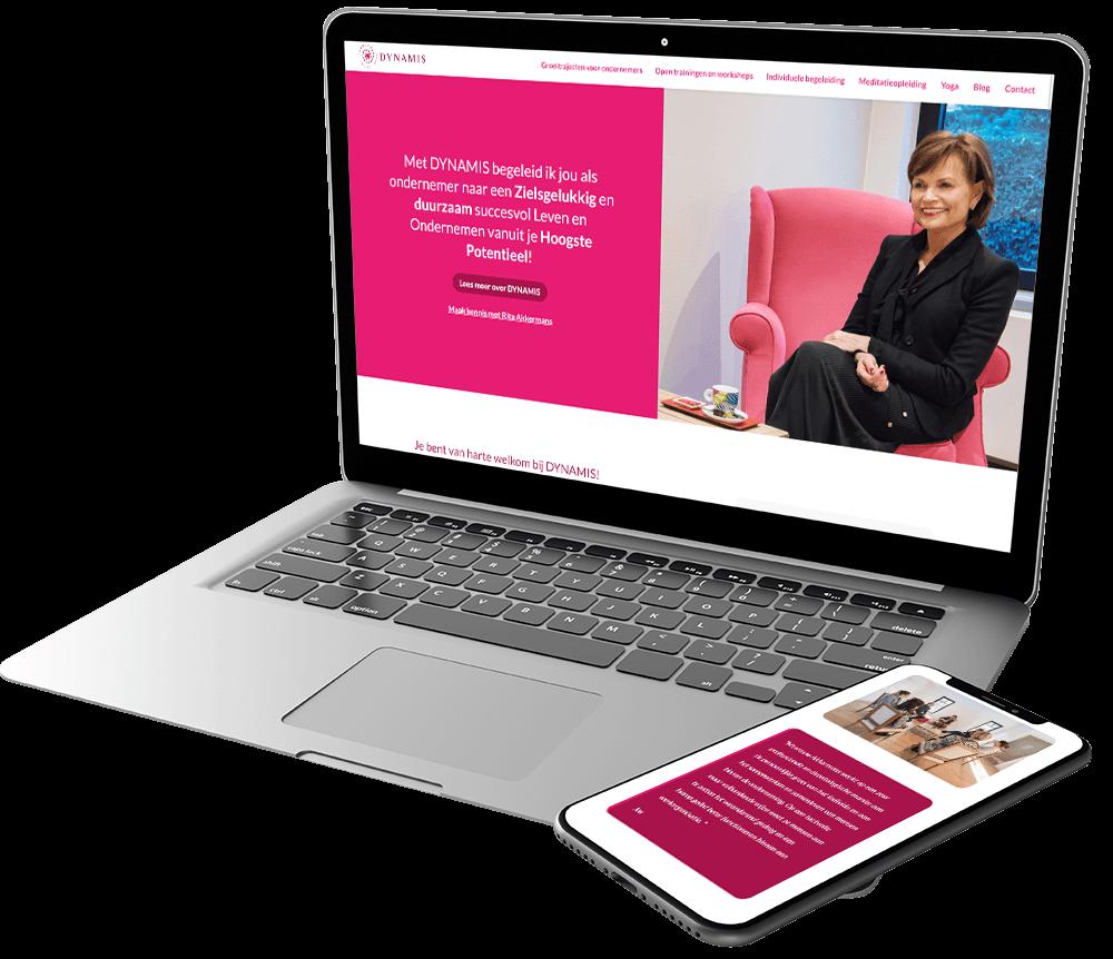 Moderne website voor Rita Akkermans van Dynamis