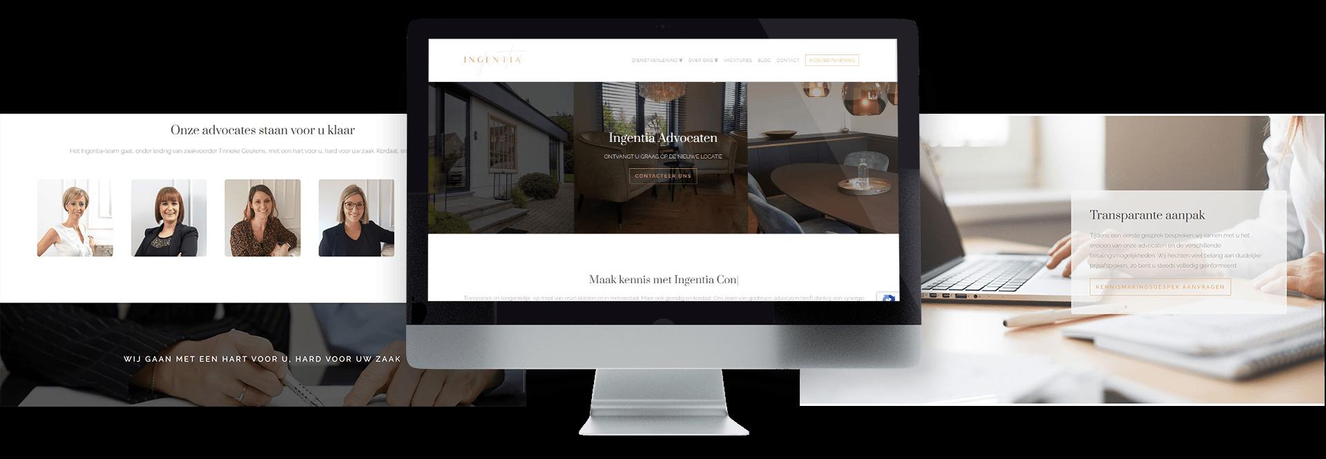 Moderne website voor advocatenkantoor voor ondernemers Ingentia Advocaten