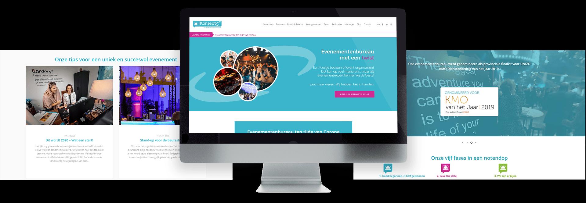 Belevingsgerichte website voor Sophie Naze van KonseptS no nonsense event consulting