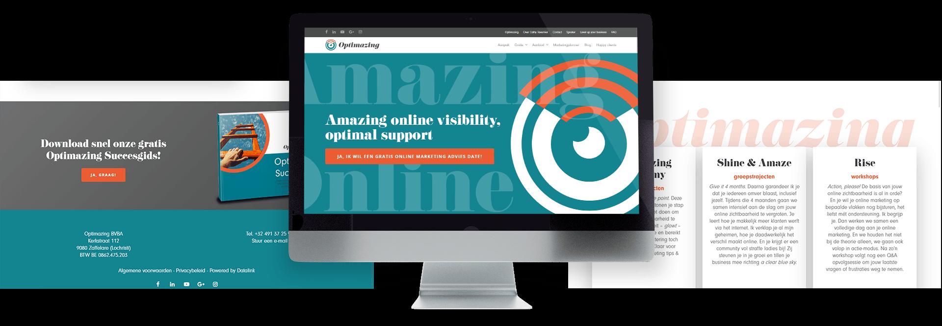 Moderne website voor Cathy Tavernier van Optimazing online marketing